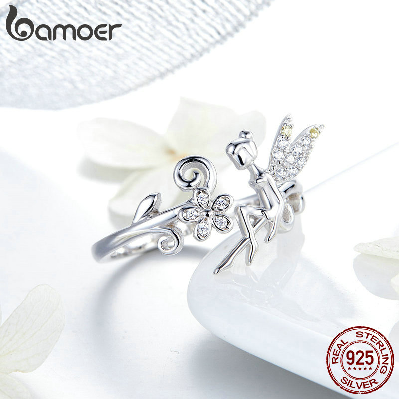 BAMOER GAR025 Fairy Wings Flowers Plant Silver Ring 925 Sterling Silver Ajustable Rings For Women Trendy Fine Jewelry Gifts