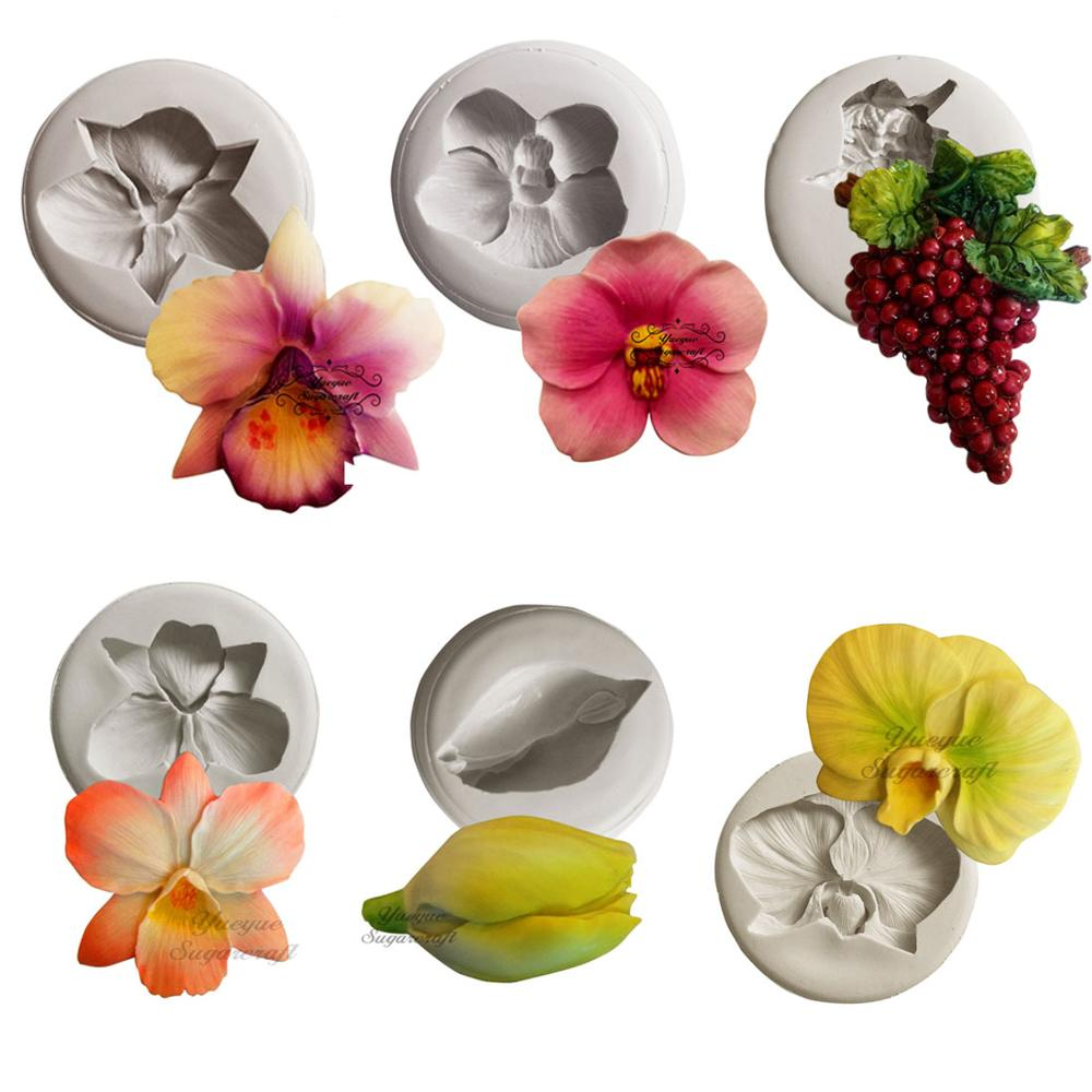 Yueyue Sugarcraft Orchid Flower Grape  silicone mold fondant mold cake decorating tools chocolate gumpaste mold clay mould