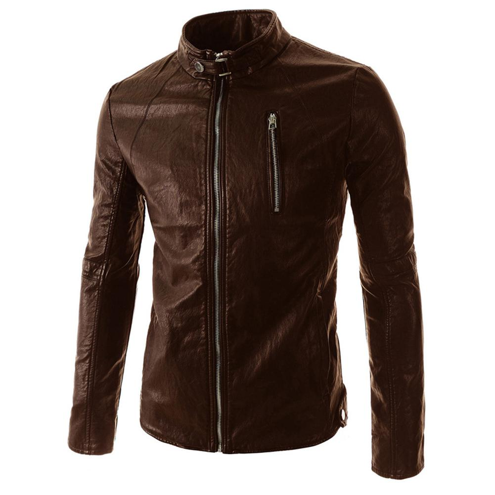 Men Faux Leather Stand Collar Motorcycle Jacket Coat Stylish PU Leather Zipper Casual Overcoat Male Jacket For Autumn Winter