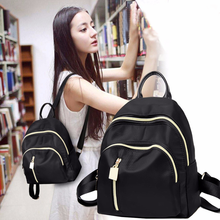 New Korean women's backpack Oxford cloth Mini schoolbag Double zipper outdoor leisure wear-resistant Backpack patch detail double zipper canvas backpack
