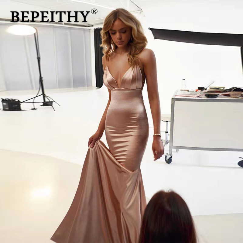 BEPEITHY Vestidos De Gala V Neck Mermaid Long Prom Dresses 2020 Court Train Sexy Backless Party Dress Vestido Formatura