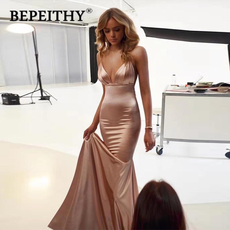 BEPEITHY Vestidos De Gala V Neck Mermaid Long Prom Dresses 2020 Court Train Sexy Backless Party Dress Vestido Formatura
