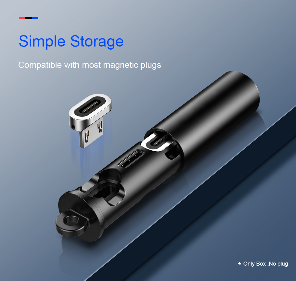 Magnetic charger Cable Plugs Case Micro USB Type C Portable Storage Box Magnet Connector Head TIps Container Bullet Plugs Case