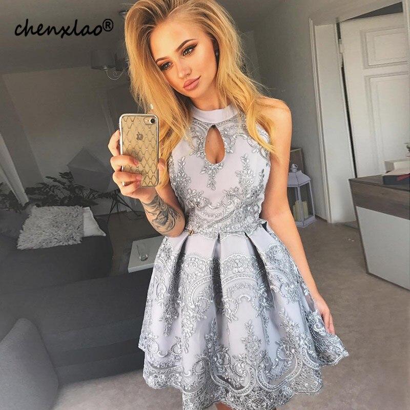 Vestido De Festa Silver Homecoming Dress 2019 Jewel Neck Sleeveless Lace A-Line Above Knee Party Dresses Short Graduation Gowns