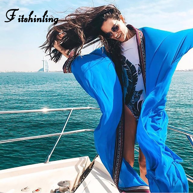 Fitshinling 2020 Bohemian Beach Cover Up Swimwear Embroidery Chiffon Long Cardigan Kimono Vintage Oversize Swimsuits Outing Sexy