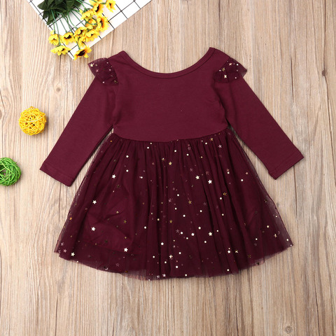 Kids Baby Flower Girls Long Sleeve Stitching Party Sequins Dress Wedding Bridesmaid Dresses Lahore