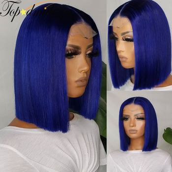 TOPODMIDO Blue Color Bob Cut Wigs For Women Peruvian Remy Hair 4x4 Closure Wigs with Baby Hair 13X1X6 Lace Front Human Hair Wigs 1