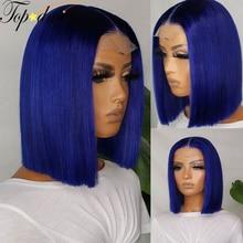 TOPODMIDO Голубые короткие волосы, короткие волосы, Короткие парики, предварительно выщипанные 8-16 дюймов, 13X6 перуанские Remy, человеческие волосы ...