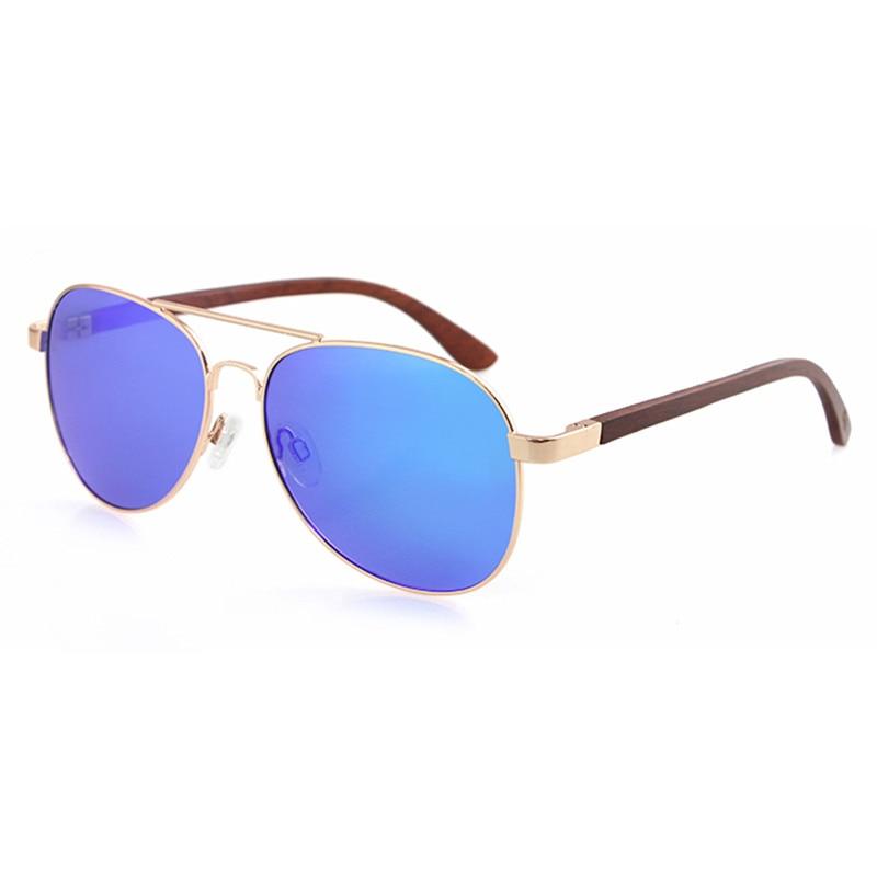 Dropshipping Premium Ladies Golden Pilot Stainless Steel Frame Glasses Polarized Fishing Black Ebony Wood Arm Sunglasses