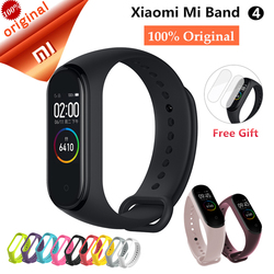 В наличии Новый Xiaomi mi Band 4 Smart AMOLED цветной экран браслет пульсометр фитнес Bluetooth 5,0 50MSwim mi ng водонепроницаемый mi Band 4