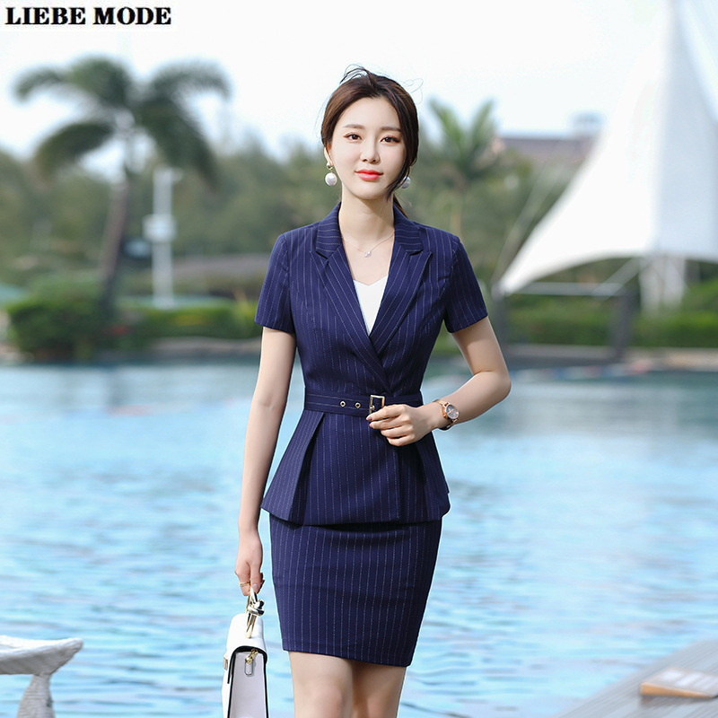 Women Work Wear Striped Pant Skirt Suit 2 Piece Set Short Sleeve Belt Jacket Blazer and Pants or Skirts for Summer Office Ladies