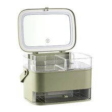 Cosmetic Storage Box With mirror and LED light Desktop Makeup Organizer Storage Case Dust-Proof Drawer Type Organizer Cosmetics