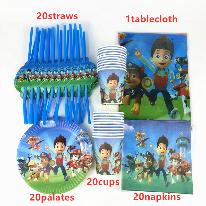 81Pcs Paw Patrol Theme Kids Girl Favor Birthday Party Paper Disposable Cup+Plate+Napkin+Straw+Tablecloth Decoration Supplies