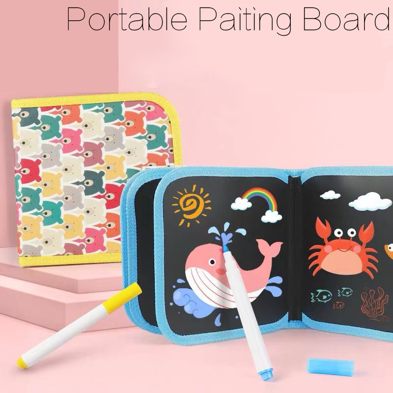 Portable Soft Chalk Board Drawing Toy Magic Pen Painting Coloring Book DIY Blackboard Painting Drawing Board Kids Toys DS29