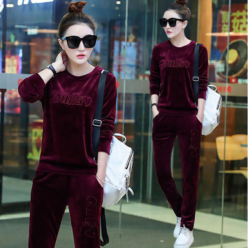 2018 Thin Spring And Autumn Hoodie Fashion Gold Velvet WOMEN'S Suit Casual Slimming Sports Set Embroidered