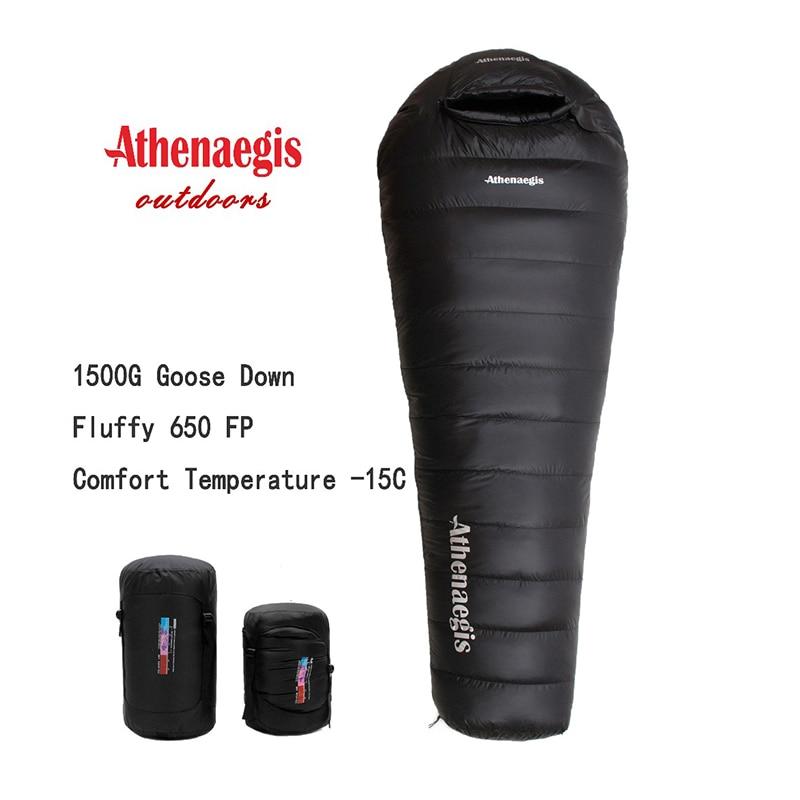 Athenaegis ultra-léger confortable imperméable 1500g blanc duvet doie remplissage peut être épissé hiver sac de couchage