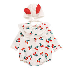 Infant Newborn Baby Girl Bodysuit Clothes Fruit Printed Ruffles Bodysuit Playsuit Hat Outfits Clothes Toddler Baby Onesie(China)