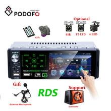 راديو سيارة Podofo Autoradio1 Din بشاشة 4.1 بوصة تعمل باللمس ستيريو متعدد الوسائط MP5 مشغل بلوتوث يدعم RDS مضخم صوت للهواتف الصغيرة