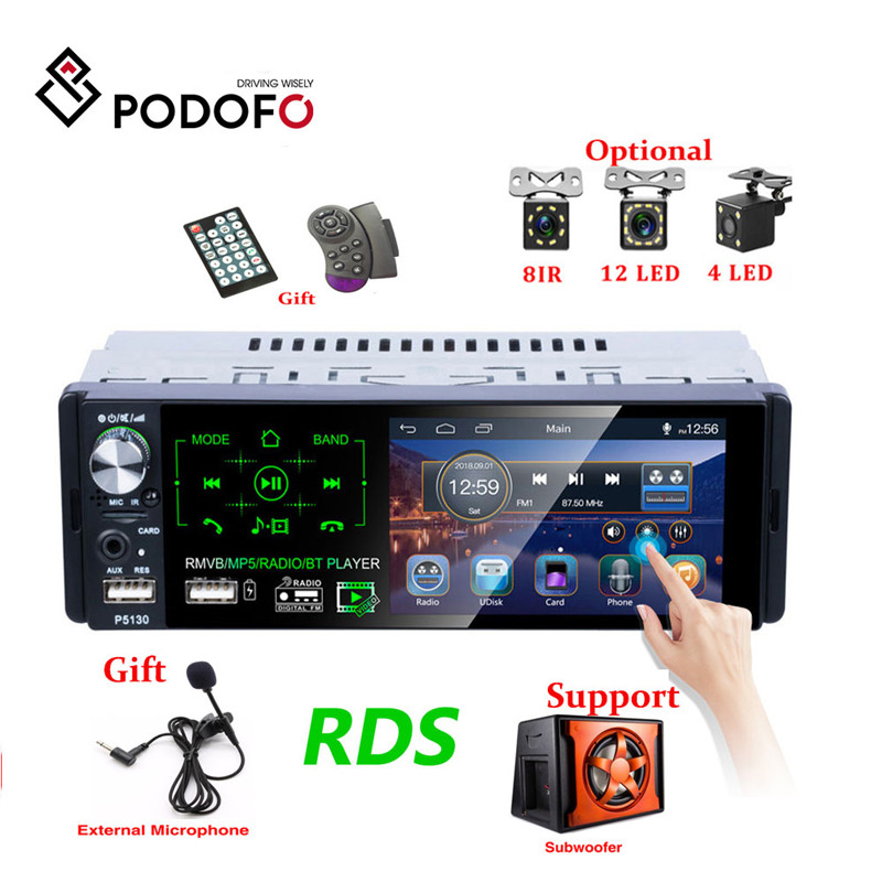 Podofo Autoradio1 din Car Radio 4.1 Inch Touch Screen Car Stereo Multimedia MP5 Player Bluetooth RDS Support Micphone Subwoofer image