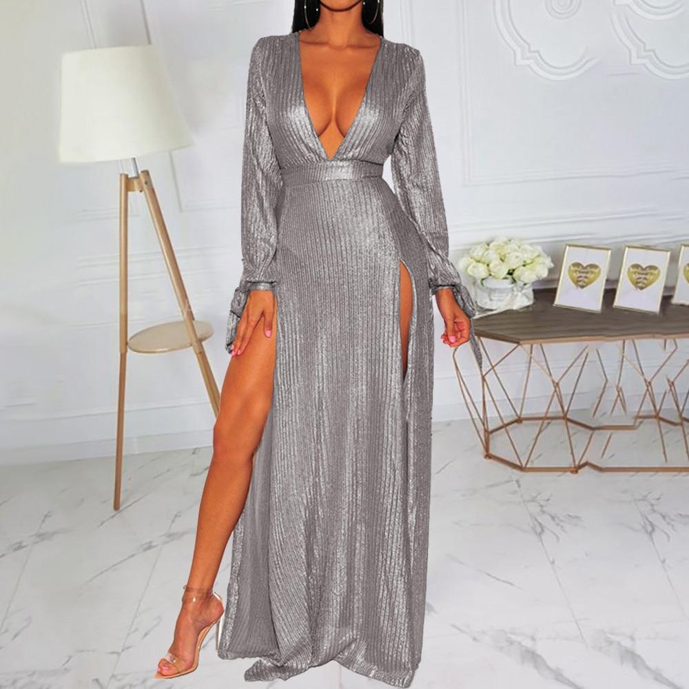 Long Sleeve Deep V Neck Sexy Party Dresses Women Elegant Reflective High Slit Tunic Ladies Maxi Dress Robe Evening Vestiods