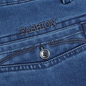 Image 5 - Plus Size 30 42 Degli Uomini di Qualità Del Tessuto Denim Dei Jeans Homme di Alta Della Vita di Stirata Solido Dritto Pantaloni di Sesso Maschile Classico Per Il Tempo Libero pantaloni