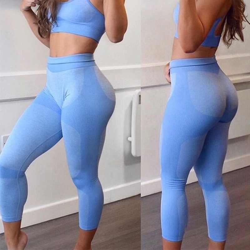 Hohe Taille Yoga Hosen Nahtlose Frauen Sport Leggings Fitness Solide Sportlich Workout Lange Strumpfhosen Gym Hosen Mädchen