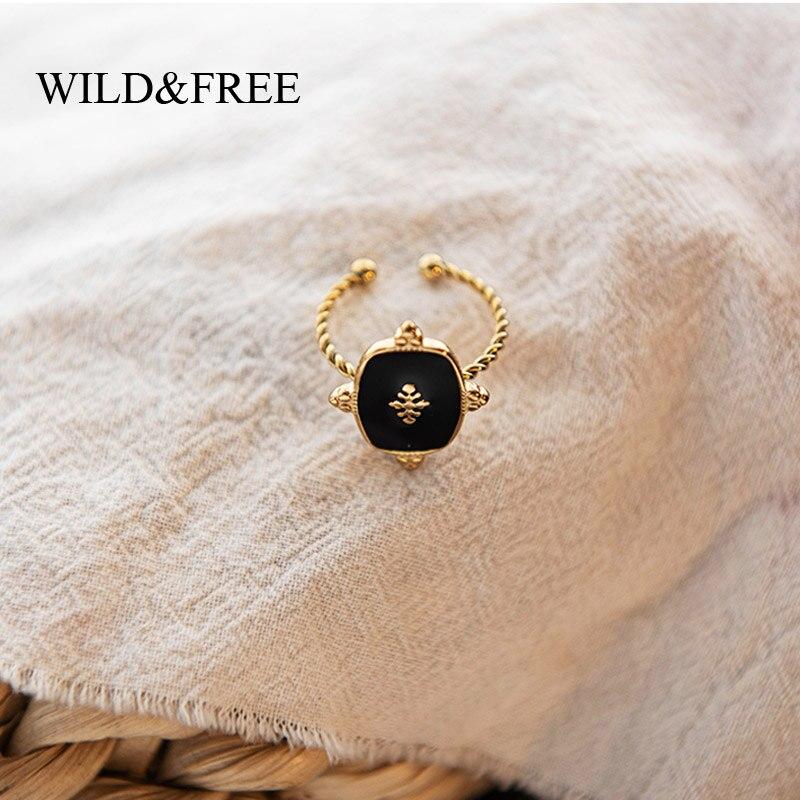Sauvage & gratuit Vintage géométrique anneaux pour femmes en acier inoxydable couleur or torsadé cercle noir émail anneaux Boho bijoux réglable