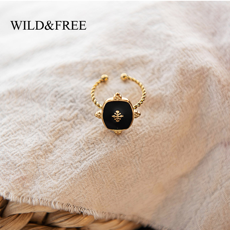 Wild&Free Vintage Geometric Rings For Women Stainless Steel Gold Color Twisted Circle Black Enamel Rings Boho Jewelry Adjustable