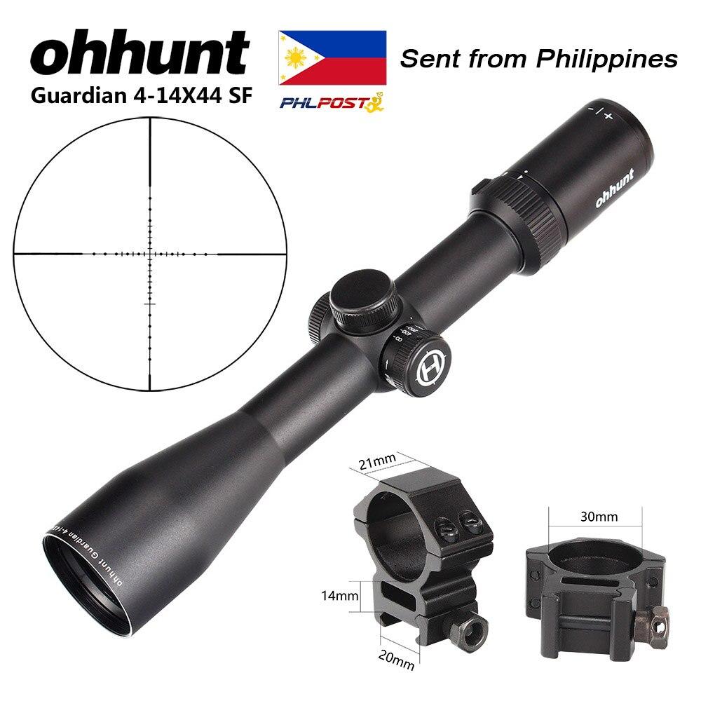 Ohhunt Guardian 4-14X44 SF lunette de visée optique tactique de parallaxe latérale avec anneaux de Rail de 20mm pour portée de fusil de chasse