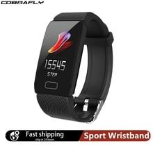 Смарт браслет Cobrafly Q1 мужской, экран 1,14 дюйма, фитнес трекер, пульсометр, водонепроницаемый спортивный браслет для xiaomi honor