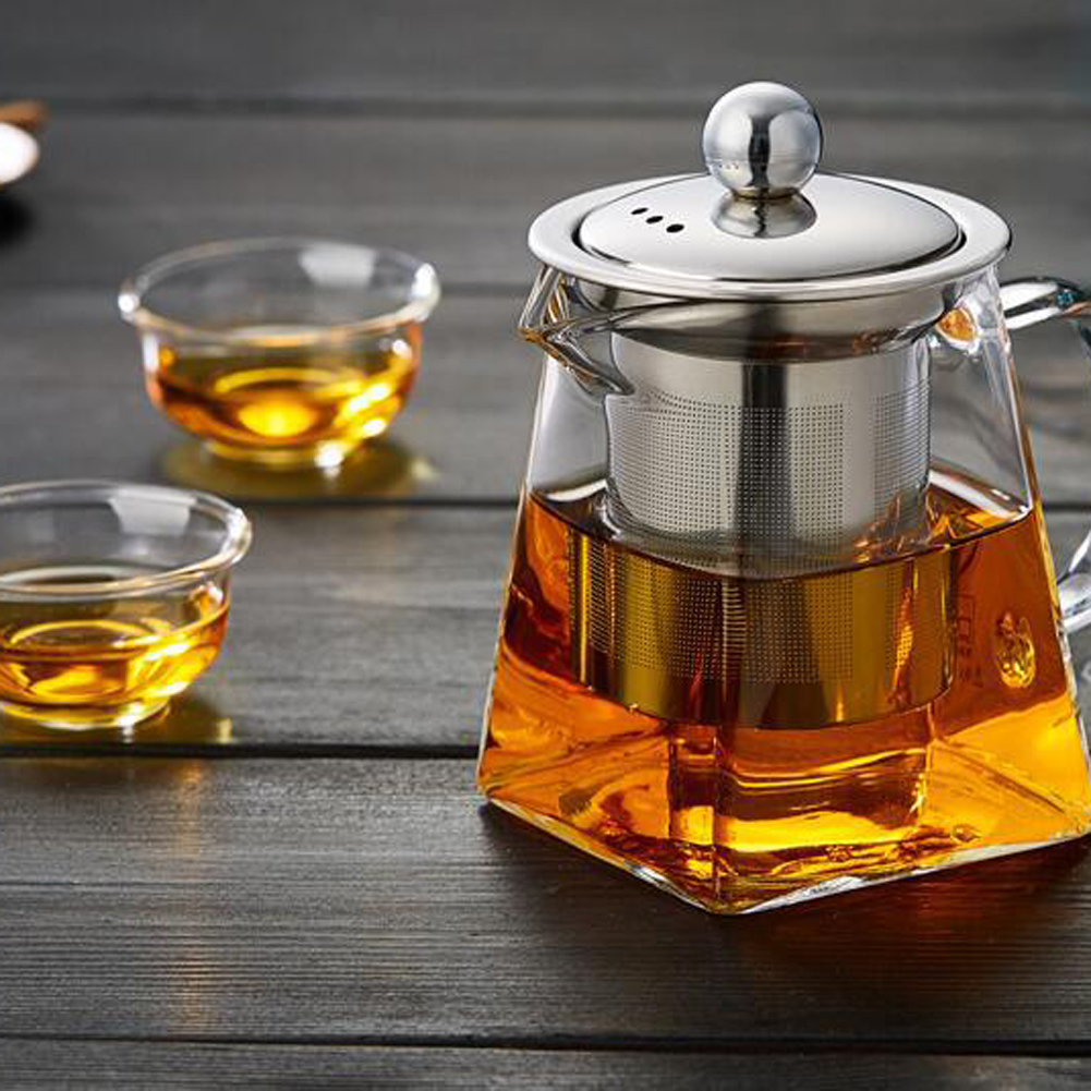 350ml 550ml 750ml Glass Square Teapot High Temperature Resistant Glass Teapot With Tea Infuser Filter Milk Oolong Flower Tea Pot