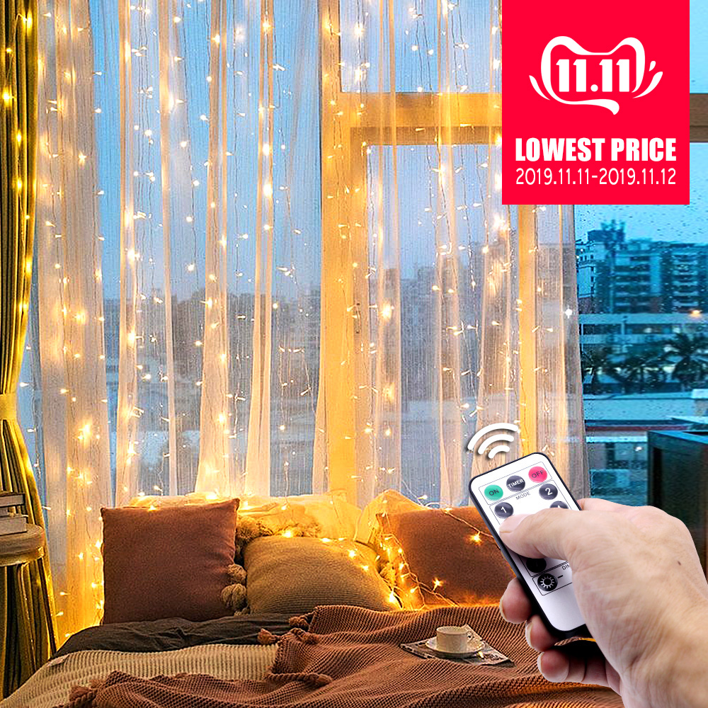 USB LED Curtain Lights New Year's Garland On The Window Remote Control Fairy Light Christmas Holiday Lighting Bedroom Decoration