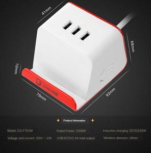 Image 4 - רב מפצל חשמל חכם עם טלפון אלחוטי מטען 3 USB טעינה 2 AC לשקע שולחן העבודה שקע מתג שולחנות 1.5M כבל AU Plug
