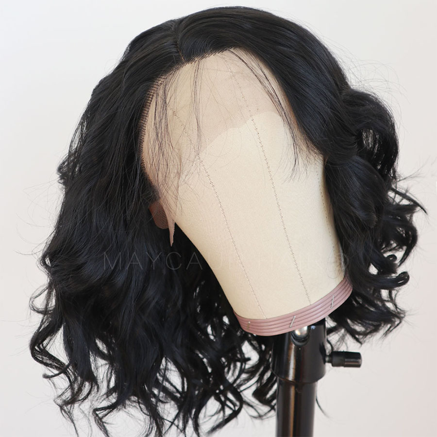 Maycaur Lace Front Wig Black Short Bob Wigs for Fashion Women Synthetic Wig Heat Resistant Soft Fiber Wavy Wigs (4)