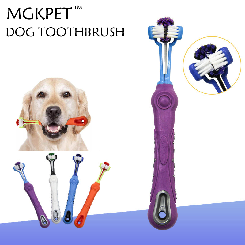 Hot Selling Three Sided Pet Toothbrush Dog Brush Addition Bad Breath Tartar Teeth Care Dog Cat Cleaning Mouth Teddy Toothpaste image