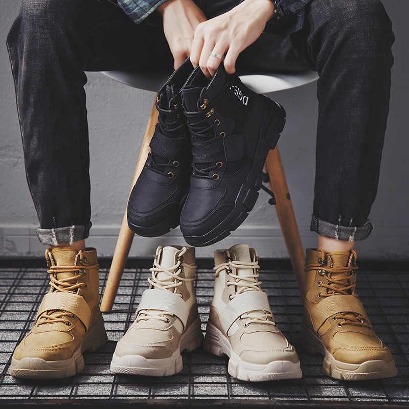 Adisputent 2019 yüksek kalite moda kış erkek botları sıcak iş çizmeleri Lace Up erkek çöl botları yuvarlak ayak yüksek üst ayakkabı