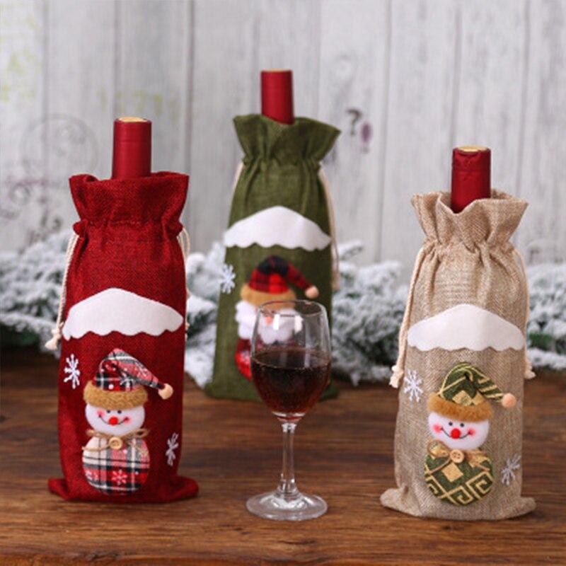 Купить рождественская сумка льняной праздничный чехол для бутылки с