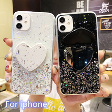 Luxury sequin Love Heart mirror Stand Holder Phone Case For