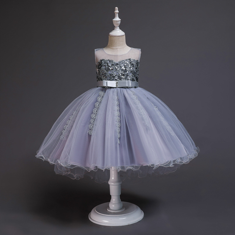 Girl'S Gown Sequin Princess Dress Lace Hem Tutu Birthday Banquet Performance Wear