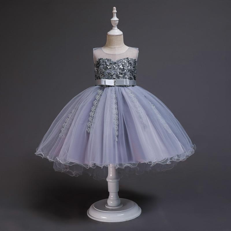 Girl'S Gown Sequin Princess Dress Lace Hem Tutu Birthday Banquet Performance Wear