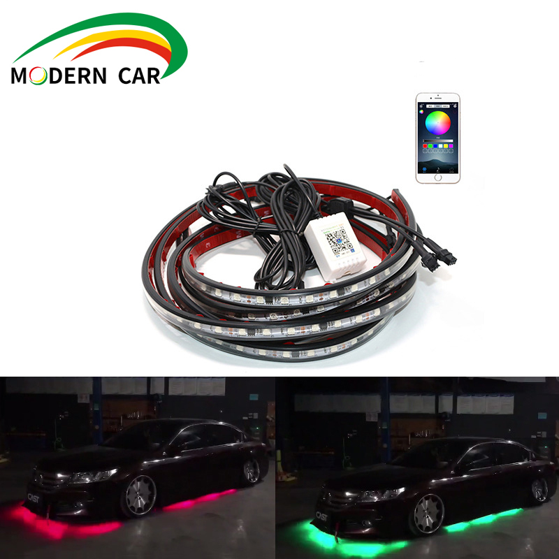 Neon light for the light system under the brightness of the car 4 pieces Flexible LED strip remote / Control the application RGB