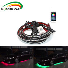 Neon light for the light system under the brightness of the car 4 pieces Flexible LED strip remote / Control the application RGB(China)