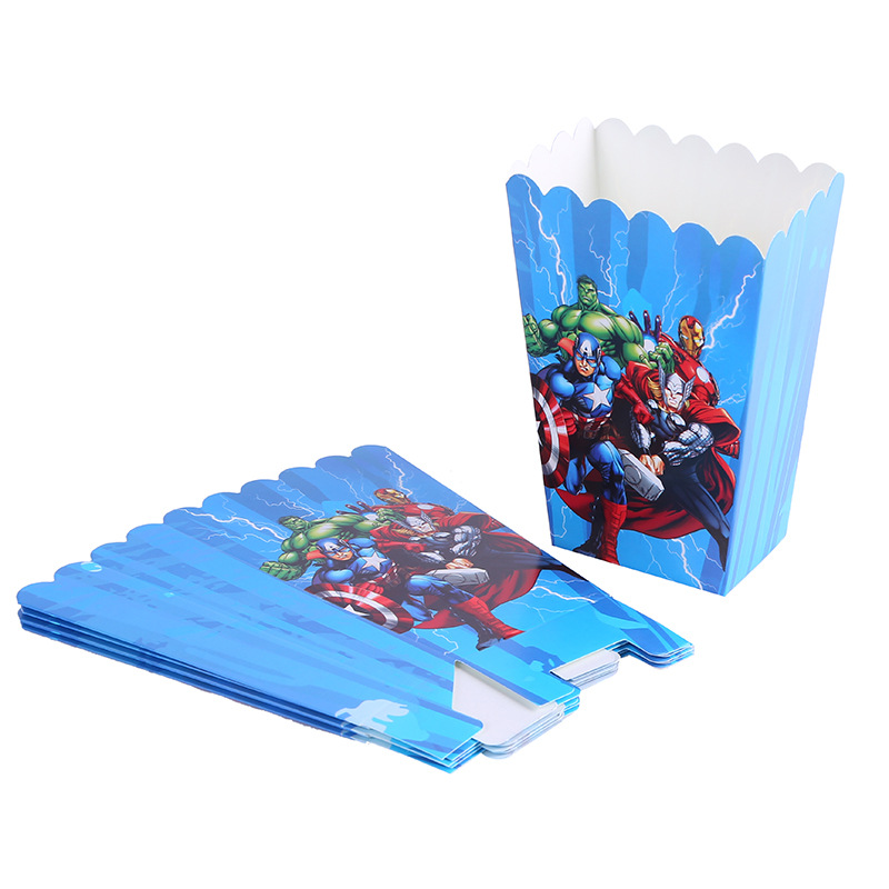 6pcs/lot Avengers Superhero Popcorn Boxes Boy Kids Happy Birthday Party Supplies Baby Shower Candy Gift Box Party Decorations