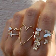 2021 Vintage Bohemian Ring Sets Heart Butterfly Gold Color Rings Crystal Geometric Knuckle Midi Rings for Women Jewelry Gifts