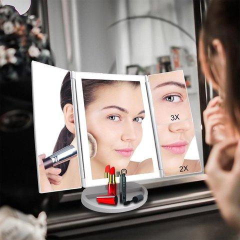 Desktop 36LED Facial Maquiagem Espelho Compacto Tamanho 180 Graus de Rota o de Mesa Espelho