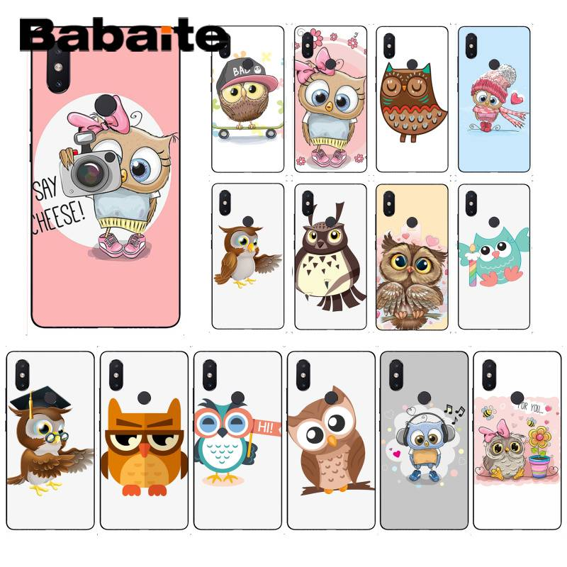 Babaite Cute Owl Hearts Lover Christmas TPU Soft Silicone Black Phone <font><b>Case</b></font> For XiaoMi 6 MIX2 <font><b>8SE</b></font> K20 REDMI 5A NOTE4X 7 6A Cover image