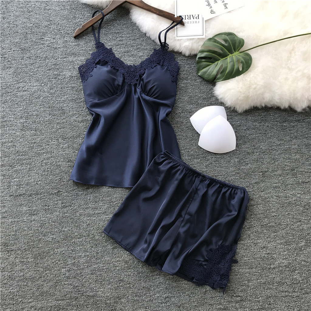 Women Silk Pajamas Set Sleepwear Sexy Chest Pad Nightwear Female Robe Two Piece Set Summer Lace Homewear Women Lingerie 2019 *S