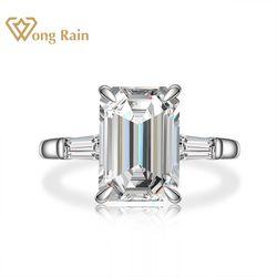 Wong deszcz 925 Sterling Silver Emerald Cut utworzono Moissanite kamień ślub pierścionek z brylantami Fine Jewelry Wholesale