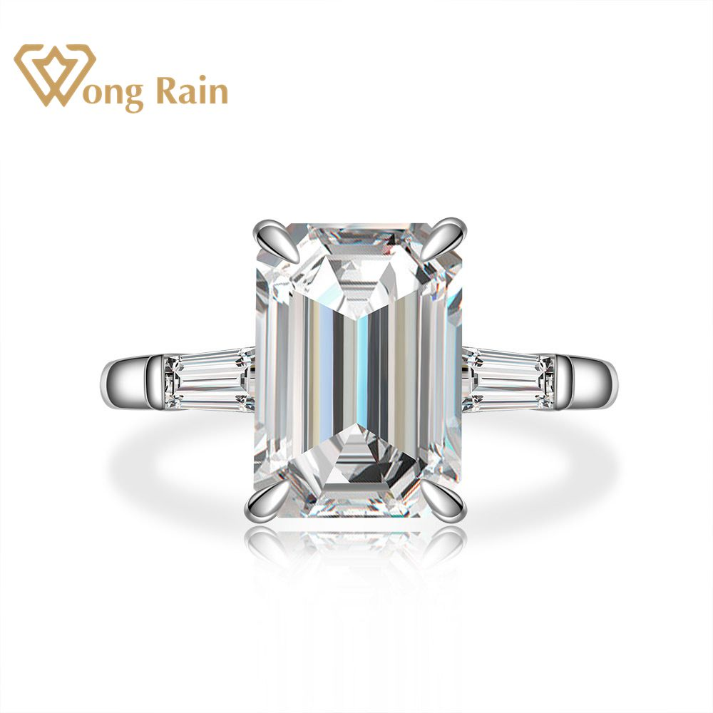 Wong Rain 925 Sterling Silver Emerald Cut Created Moissanite Gemstone Wedding Engagement Diamonds Ring Fine Jewelry Wholesale