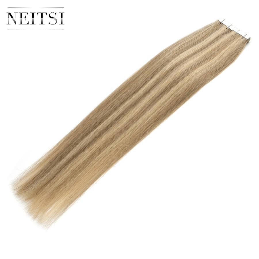 """Neitsi Straight Skin Weft Adhesive Hair None Remy Tape In Human Hair Extensions 20"""" P18/613# Double Side Tape Piano Color"""